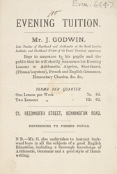 Advert For Evening Tuition By Mr. J. Godwin